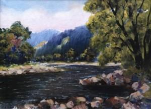 Невицький пейзаж над річкою, 1965, 55x75