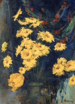 Flowers on the Background of Decorative Shawls, 1980, oil on canvas, 60х43,5