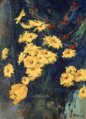Квіти на тлі декоративної шалі, 1980, п.о., 60х43,5