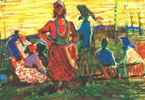 Collective Farms Week-days, 1967, marker on paper, 20х29