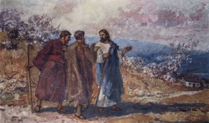 Jesus Road To Emmaus, 1960s, oil on cardboard, 42x68
