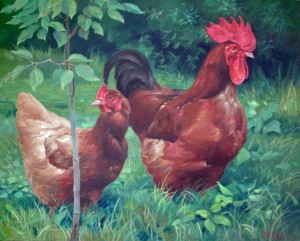 Rooster And Chicken, 2010, oil on canvas, 40х50