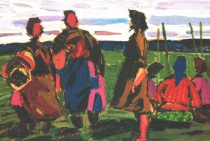 Collective Farms Week-days, 1967, tempera on paper,18х28
