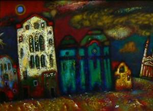 Велика Вода та Ікар в небі, 2006, т.двп, левкас, жовткова емульсія