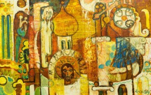 Composition On A Sacred Theme, 1989, oil on canvas, 51,5х80,5