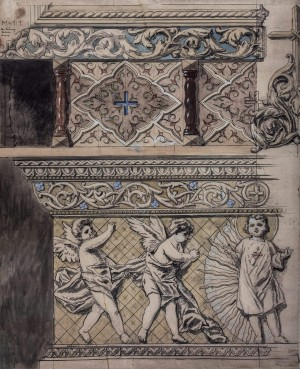 Sketch Of Decorative Paintings, 1946, mixed technique on paper, 142,5х114
