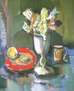 Still Life With A Red Plate, 2005, oil on canvas, 60x50