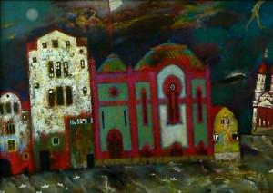 Велика Вода та Ікар в небі, 2000, т.двп, левкас, жовткова емульсія