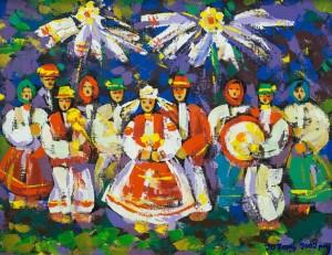 Wedding On Verkhovyna, 2002, tempera on canvas, 70x90