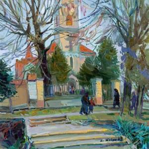 Біля церкви, 2007, п.о., 55х60