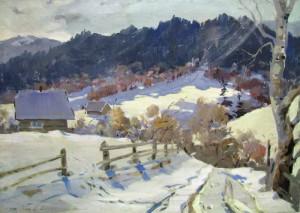 Winter Landscape, oil on canvas, 33x88