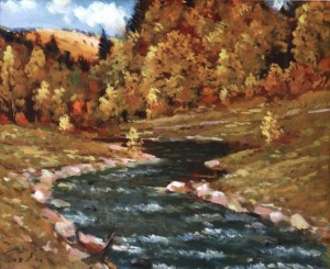Autumn Landscape With A Stream, 1977, 50x60
