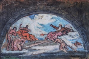 Sketch Of A Wall Painting Of The Church Altar, 1920, tempera on cardboard, 32х46,7