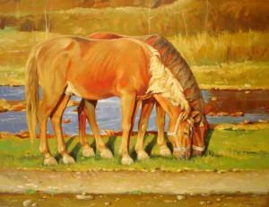 Коні у Вільшанках, 2010, п.о., 50х70