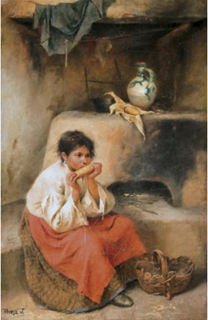 A Girl Eating Corn, oil on canvas, 38,5х26,5
