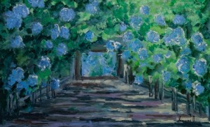 'Garden With Hydrangea Flowers', 2017, 80x50