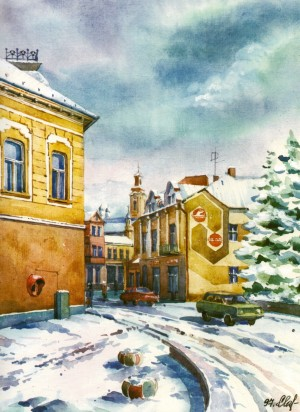 In the old city centre 1997 watercolour