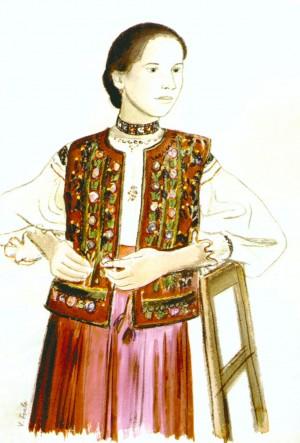 Дівчина у кептарі, 1936, пап.акв., 54,9х37,2