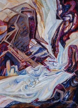 Гірський водоспад, 2000, к.о., 80х59