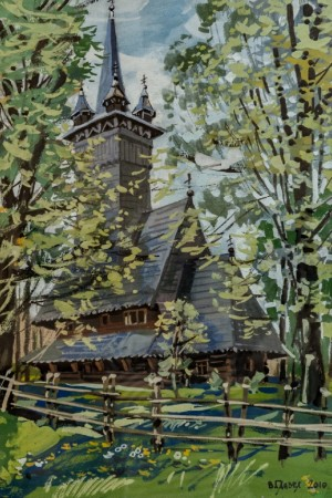 Wooden Church In Krainykovo Village, 2010, acrylic on cardboard, gouache, 70,5 x50,5