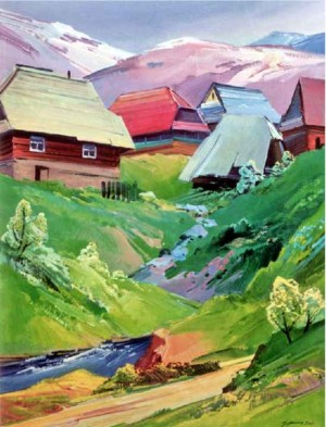 Village In The Mountains, 2000, oil on masonite.png