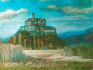 Mukachevo Castle 1997 pastel on paper 53x70