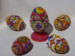 Decorative Easter Eggs, 2009-2012, beads, threads, wood
