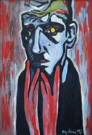Портрет руками, 1990, орг. о., 85.5х60