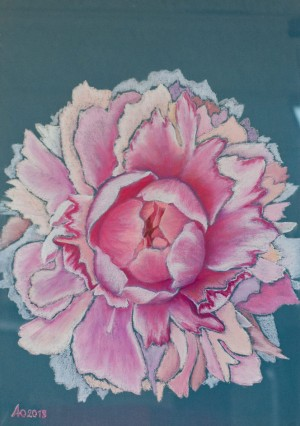 'Light, Tempting, Inspiring, And Shimmering With Warm Air – A Powder Peony Anna', 2018, pastel on paper
