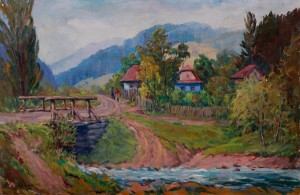 Small Village, 1978, oil on canvas, 50x74