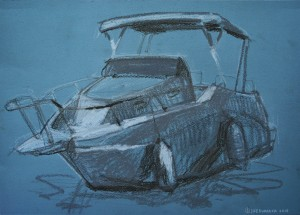 Зарисовка яхти, 2016, пастель, пастельний папір, 297×420