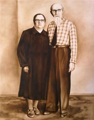 Портрет прабабусі та прадідуся 2014 олійні фарби.картон