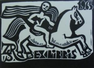 'Exilibris. Horseman', 1965, etching on paper, 8,5x11,5
