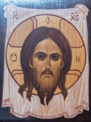 B. Rodzylovskyi Not-Made-by-Hand icon of the Savior', board, acrylic, 15x20
