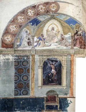 Sketch Of The Interior Of The Monastery Church, 1934, mixed technique on cardboard, 79x56