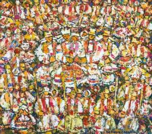 People of Verkhovyna, 2000, tempera on canvas, 90х100