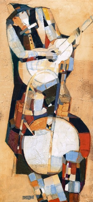 Musician, 2009, oil on canvas, 72x35