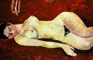 Nude On A Red Background', 1963, oil on cardboard, tempera, 17,5х52,5