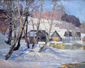 Winter Scenery with Small Houses