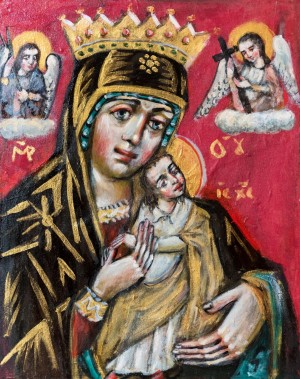 L. Skop The Virgin of the Relentless Help', board, tempera, 50x60
