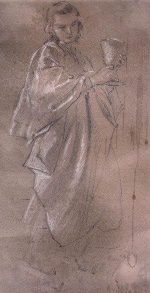 Sketch, 1937, oil on paper, white, 44х23