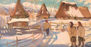 Winter, Richka Village, 1960, oil on cardboard, 52x101