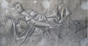 Sketch, 1937-1938, oil on paper, white, 27x48.5