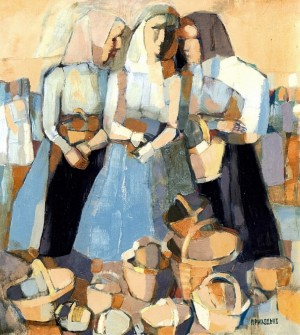 At The Market, 2004, oil on canvas, 55x48