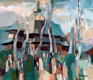 On Verkhovyna. Near The Temple, 2008, oil on canvas, 60x70