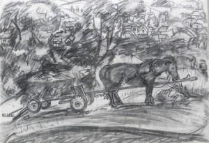 Дідо з возом, 1984, пап. вуг., 42х62