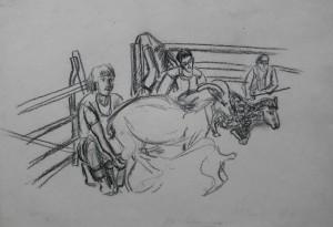 Заклопотані вівчарі, 1984, пап. вуг., 42х62