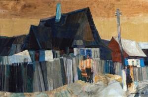 In Hutsul Region. Yasinia Village, 1981, tempera on canvas, 57x91