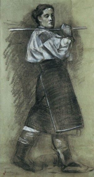 A Woman From Polonyna, 1950s, coal on paper, white
