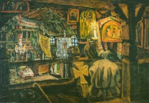 Інтер'єр гуцульської дерев'яної церкви, 1930-ті рр. карт.о. 70х100